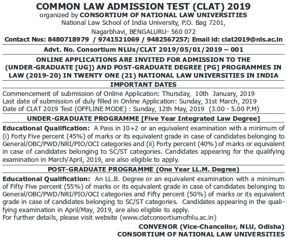 IMPORTANT DATES FOR CLAT EXAM 2019
